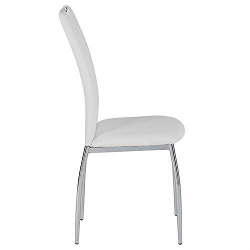 4er SET Esszimmerstuhl Essgruppe APOLLO, Set mit 4 Stühlen in chrom, Lederimitat in weiß