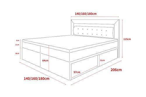 Milos - Boxspringbett mit LEDs in der Größe und Ausführung nach Wahl (160 x 200 cm, mit 2 Schubladen, Taschenfederkernmatratze und Memory-Schaum-Topper)