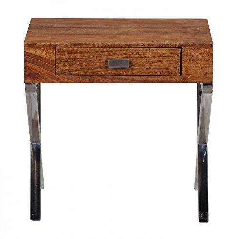 FineBuy Nachttisch Massiv-Holz Sheesham Nacht-Kommode 45 cm 1 Schublade mit Metallbeine Nachtschrank Landhaus-Stil Echt-Holz Nachtkästchen dunkel-braun Nacht-Konsole Natur-Produkt Schlafzimmer-Möbel