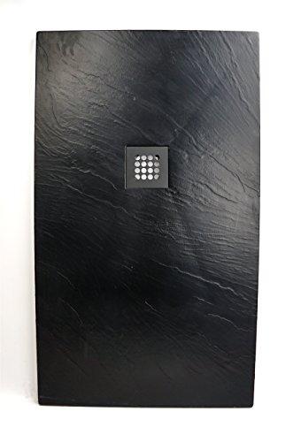 Art-of-Baan® - Extra flache Duschtasse, Duschwanne aus Acryl, Antirutsch (ABS) Oberfläche Schwarz; 120x70x3,5cm inkl. Ablaufgarnitur
