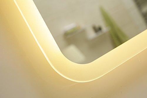 Dr. Fleischmann modernes Lichtspiegel Wandspiegel Badspiegel GS045N mit LED-Beleuchtung IP44 (50 x 70cm, warmweiß)