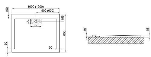 Duschwanne aus Acryl | schlagfest | Duschtasse in Schwarz inkl. Ablaufgarnitur, Abmessungen:L120 B80