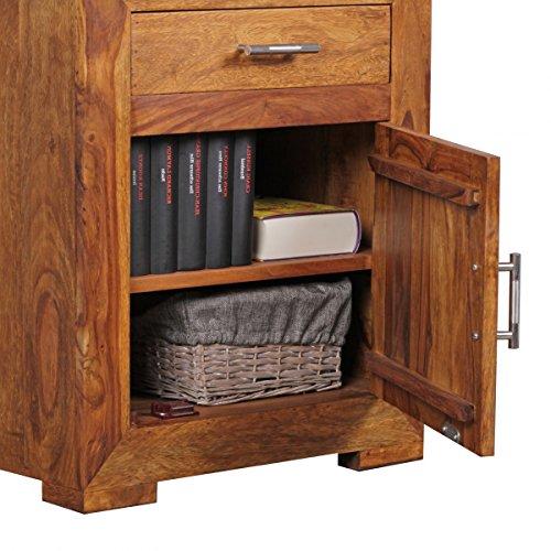 Nachttisch Massivholz Sheesham Design Nachtkommode 60 cm mit Schublade und Tür Nachtschrank für Boxspringbett