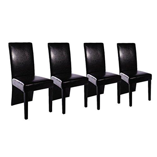 4 Stühle Hochlehner Esszimmerstühle Stuhlgruppe Essgruppe Sitzgruppe Schwarz NEU