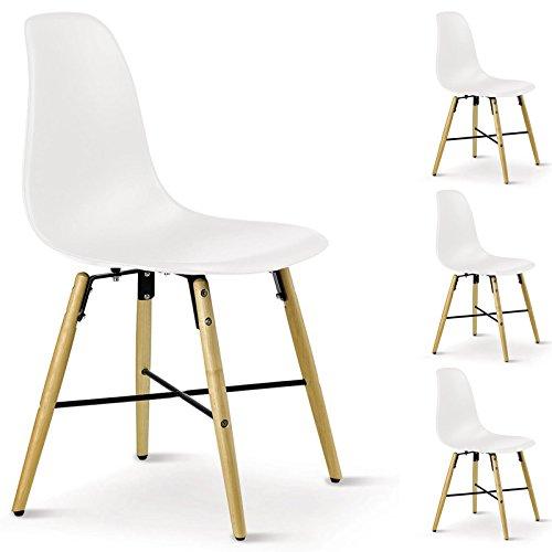 4er SET Esszimmerstuhl Design Retro Konferenzstuhl CICERO, aus Hartschale, in weiß