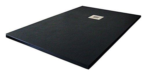 Slate Duschwanne, Duschtasse aus Kunstharz. 70 x 120cm. Schwarz