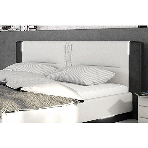 innocent polsterbett aus kunstleder wei schwarz 180x200cm mit led und lautsprecher salero mit. Black Bedroom Furniture Sets. Home Design Ideas