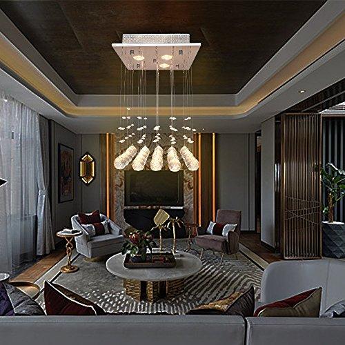 Glighone Kristall LED Deckenleuchte Kronleuchter Modern Pendelleuchte Anhänger Kristallkronleuchter Kristallkugel mit 3 Leuchten für Küche, Flur, Wohnzimmer, Schlafzimmer usw.(LED Birnen erhalten)