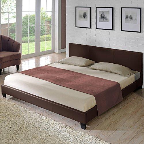 """Corium Polsterbett """"Barcelona"""" (dunkelbraun)(140x200cm) modernes Bett / Kunst-Leder / mit Stecklattenrost /"""