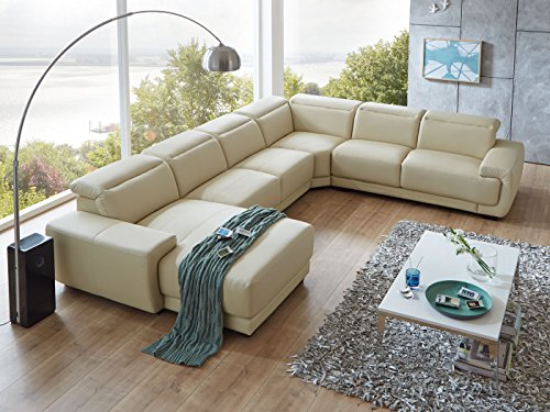 wohnlandschaft xxl leder beige nelson teilleder ledersofa polsterecke u form m bel24. Black Bedroom Furniture Sets. Home Design Ideas