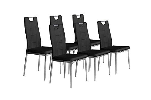 Cavadore Stuhl 6-er Set Bambi, Stühle ohne Armlehne in modernem Design / Lederimitat / Stuhlset Schwarz / 52 x 46 x 97 cm (T x B x H)