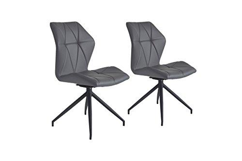 Cavadore Stuhl Indira 360° drehbar 2er Set / 2 Stühle ohne Armlehne in modernem Design / Lederimitat / Stuhl Grau / 52 x 90,5 x 62 cm (BxHxT)