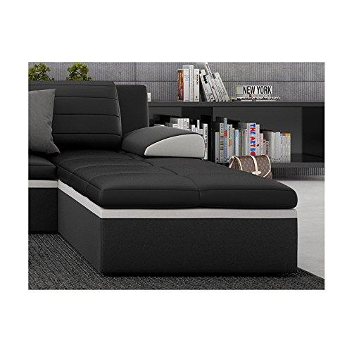 Innocent Ecksofa mit Schlaffunktion aus Kunstleder schwarz mit weißer Kontrastlinie Averda