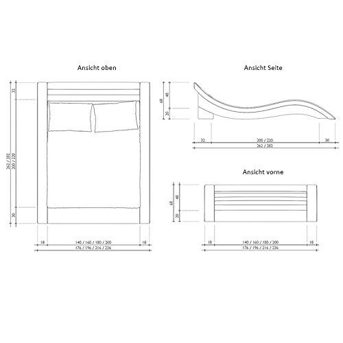 Innocent Polsterbett grau aus Alcantara Stoff mit LED-Beleuchtung Look 160 x 200 cm