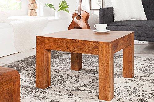 Massiver Couchtisch aus Akazie MONSOON 60cm Markant Finish gemasert Massivholz Wohnzimmertisch Holztisch