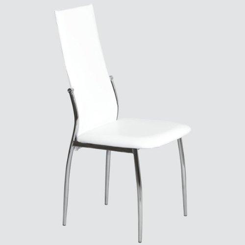 Esszimmer Stuhl DORIS - Set mit 4 Stühlen - chrom / schneeweiss