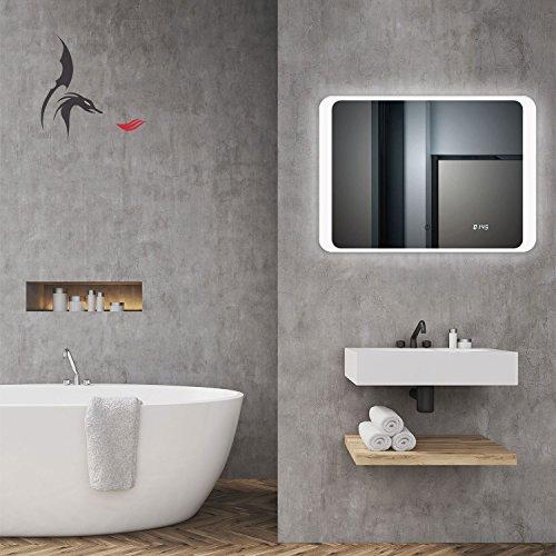 TOP AKTION WEIHNACHTEN! Badspiegel LED mit digital Uhr, Hannover 70x50cm, Badezimmerspiegel mit Uhr, Energieklasse A+