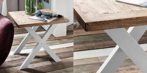 Beistelltisch Holz Massiv weiß braun Byron Landhaus Vintage