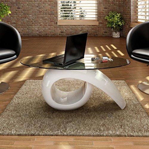 vidaXL Couchtisch Beistelltisch Kaffeetisch Tisch Glasplatte Hochglanz Weiß