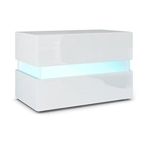 Nachttisch Nachtkonsole Flow, Korpus in Weiß matt / Front in Weiß Hochglanz inkl. LED Beleuchtung