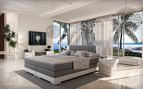 salesfever led boxspringbett 180x200 brooklyn grau wei h3 bonellfederkern matratze. Black Bedroom Furniture Sets. Home Design Ideas
