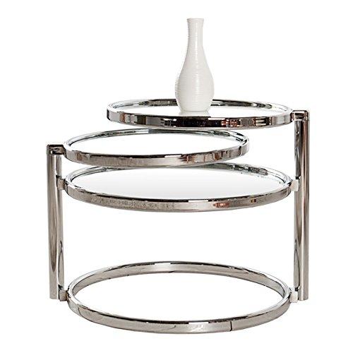 Beistelltisch - Art Deco - Chrom/Glas - mit 3 Ebenen