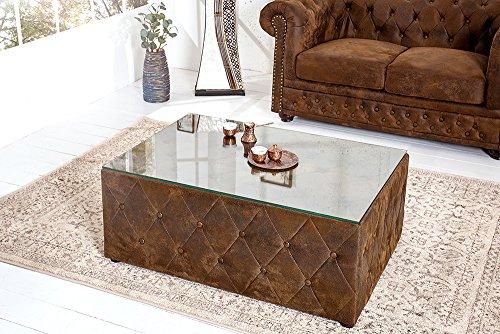 Design Chesterfield Couchtisch 100 cm braun im Antik Look mit Glasplatte Tisch Fußhocker Hocker Sitzhocker Wohnzimmertisch