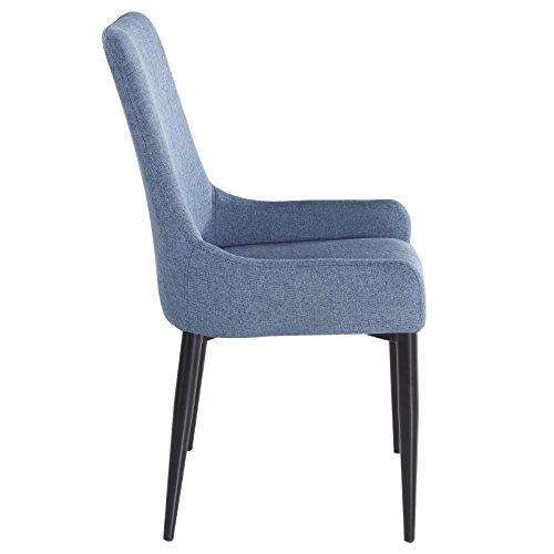 4er Set Esszimmerstuhl Küchenstuhl Stuhlgruppe Essstuhl Stuhl KYLIE Stoff blau