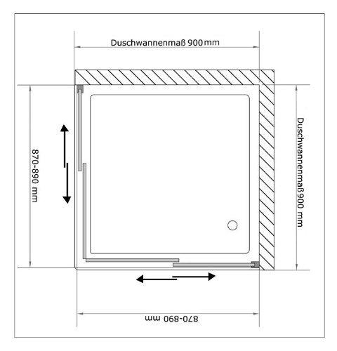 Duschkabine / Echtglas Duschkabine / Alpenberger Dusche ca. 90 x 90 x 190 cm / Duschabtrennung mit Schiebetüren / Eckeinstieg / Modell Fugo Eckeinstieg / Dusche mit Glasveredelung