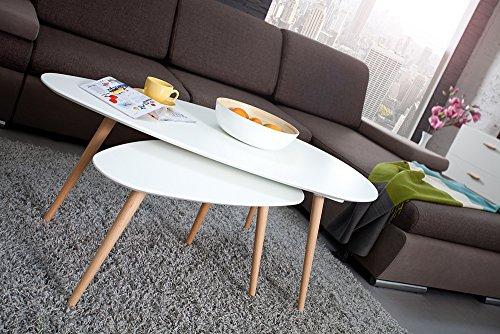 Retro Couchtisch SCANDINAVIA MEISTERSTÜCK 75cm weiß Buche Beistelltisch nierenförmig Holztisch skandinavisch