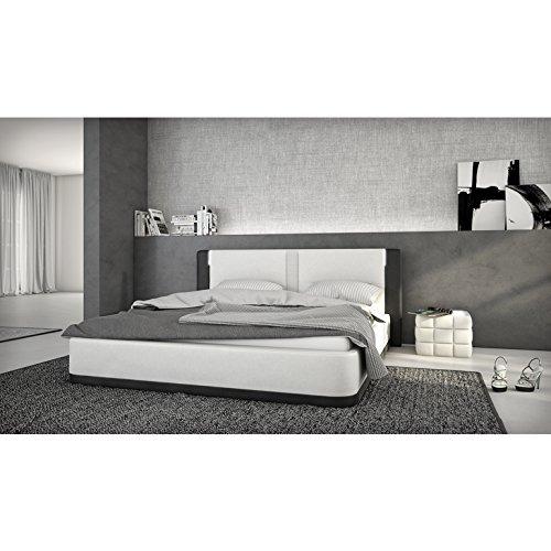 Innocent Polsterbett aus Kunstleder weiß schwarz 180x200cm mit LED und Lautsprecher Riffina mit Matratze