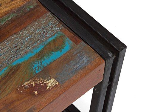 massivum Couchtisch Quebec 80x35x80 cm Hartholz bunt lackiert