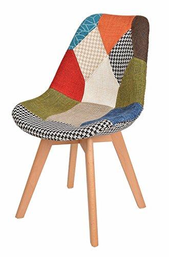 ts-ideen 1 x Design Patchwork Sessel Wohnzimmer Küchen Stuhl Esszimmer Sitz Holz Stoff Flicken Bunt