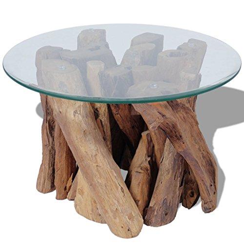 vidaxl teak treibholz massivholz couchtisch beistelltisch mit glasplatte 60cm m bel24. Black Bedroom Furniture Sets. Home Design Ideas