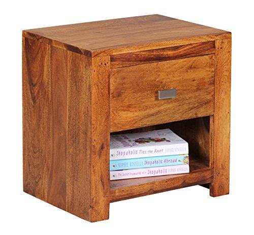 WOHNLING Nachttisch Massiv-Holz Sheesham Nacht-Kommode 40 cm 1 Schublade 1 Ablage-Fach Nachtschrank Landhaus-Stil Echt-Holz Nachtköstchen dunkel-braun Nacht-Konsole Natur-Produkt Schlafzimmer-Möbel