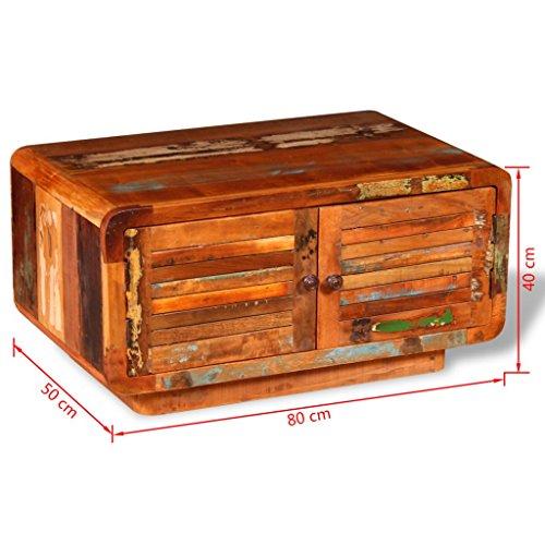 vidaXL Massivholz Couchtisch Beistelltisch Kaffeetisch Antik Retro 80x50x40 cm