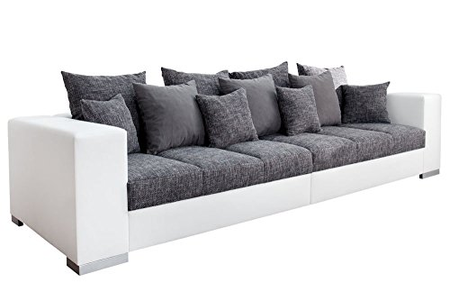 design xxl sofa big sofa island in wei grau charcoal strukturstoff inkl kissen 7 m bel24. Black Bedroom Furniture Sets. Home Design Ideas