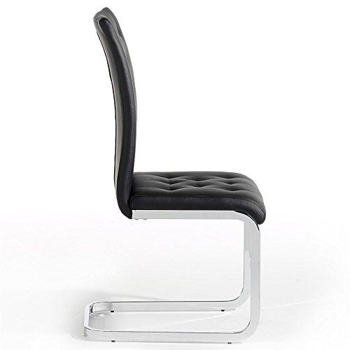 4er Set Esszimmerstuhl Schwingstuhl Freischwinger CHLOE, in schwarz, Metallgestell hochwertig verchromt