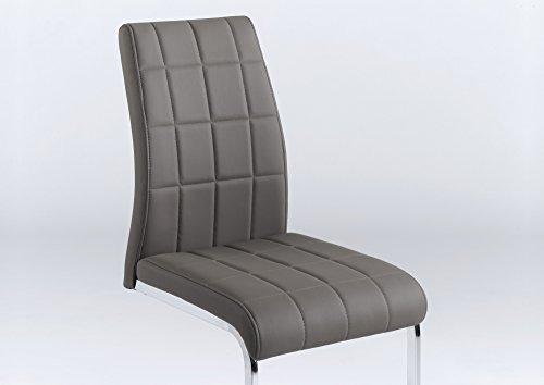 Cavadore Schwingstuhl 2-er Set Cobra / Freischwinger ohne Armlehne in modernem Design / Lederimitat / Stuhlset Schlamm-farben / 55 x 43,5 x 91cm (T x B x H)