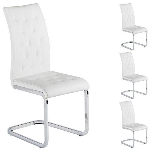4er Set Esszimmerstuhl Schwingstuhl Freischwinger CHLOE, in weiß, Metallgestell hochwertig verchromt
