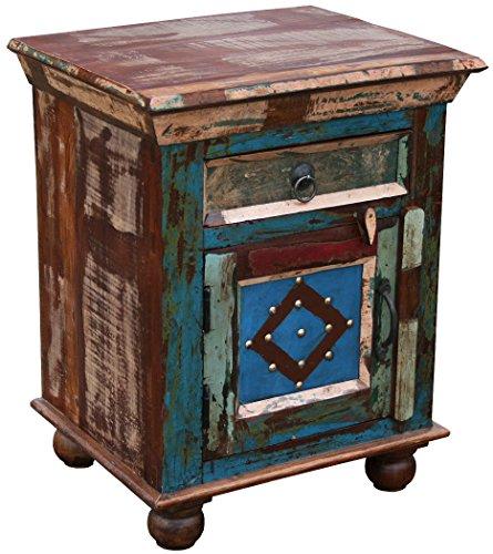 "KMH®, Nachttisch ""Phoenix"" im Shabby Chic / Vintage Style (aus recyceltem Sheeshamholz gefertigt!) (#202208)"