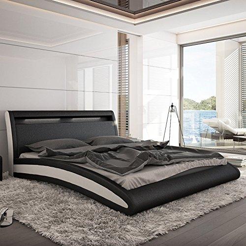 INNOCENT Polsterbett Kunstleder mit LED-Beleuchtung Doppelbett Ehebett Mangusta 180 x 200 cm weiß, schwarz Kunstleder (aus 80% Polyurethan und 20% Polyester, Grundgewebe 100% Baumwolle)
