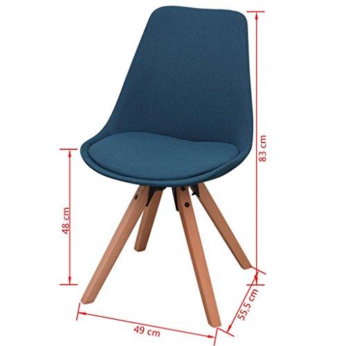 vidaXL 7-tlg. Essgruppe Sitzgruppe Esszimmer Esstischset Stühle Weiß und Blau