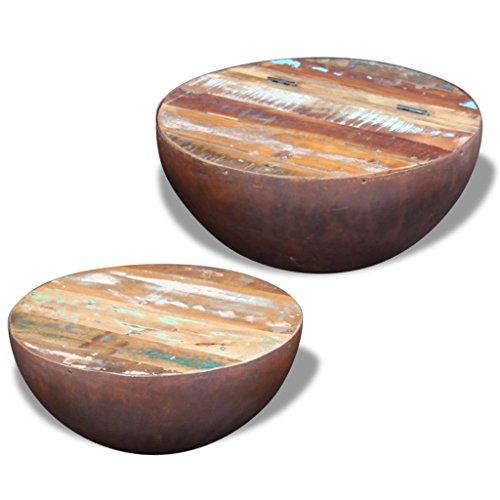vidaXL 2x Massivholz Couchtisch Wohnzimmer Kaffeetisch Beistelltisch Halbkugel Antik