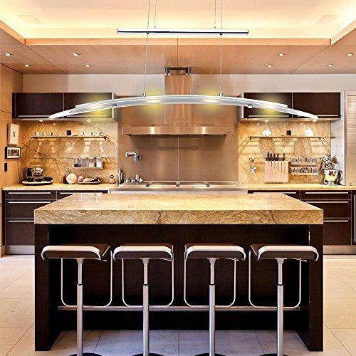 VINGO® Modern LED Pendelleuchte Höhenverstellbar 230V Hängelampe Deckenleuchte Esszimmer Schlafzimmerleuchte Innenleuchte Warmweiss 4-flammig 5W , Metall, Matt nickel, 80 - 150CM