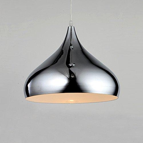 Glighone Modern Pendelleuchte E27 Silber LED Hängelampe Minimalistisch Lampe Hängeleuchte für Esstisch Esszimmer Küche Wohnzimmer Schlafzimmer Cafe, Bar, Hotel usw.