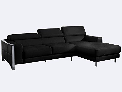 Ecksofa schwarz leder elsa wohnlandschaft couch chrom for Wohnlandschaft elsa