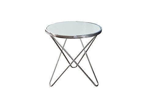 Design Couchtisch ORBIT 55 cm chrom opal weiß Beistelltisch Wohnzimmertisch Tisch