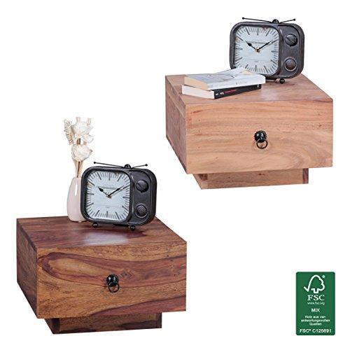 FineBuy Design Nachttisch Massiv-Holz Sheesham 40x40x25 cm | Moderne Nacht-Kommode mit Schublade | Nachtschrank Natur-Holz Nachtkonsole