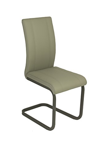 Cavadore Schwingstuhl 2-er Set Lilly / Stühle ohne Armlehne in modernem Design / Lederimitat / Stuhlset Hellgrau / 43 x 99 x 56cm (B x H x T)